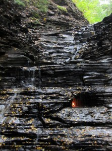 Eternal Flame burning beneath waterfall at Chestnut Ridge Park, NY