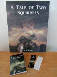 """Marketing material for 2015 BSPBF. 16"""" x 20"""" mounted poster and 2"""" x 6"""" bookmarks printed by UPrinting.com; book printed by Amazon's Create Space."""