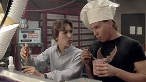 Actors Val Kilmer (left) and Gabriel Jarret (right), Real Genius (1985)